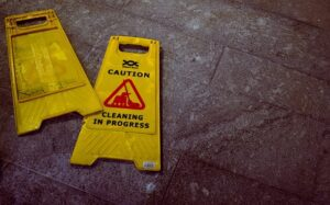 cleaning sign - slip and fall
